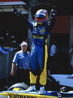 Fernando Alonso celebrates second place finish