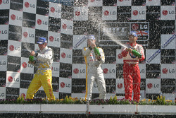 Jason Plato, Rickard Rydell and Gabriele Tarquini on the podium