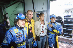 Fernando Alonso and Giancarlo Fisichella with football star Zinedine Zidane and swimmer Laure Manaudou