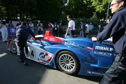 Audi Playstation Team Oreca Audi R8 enters scrutineering