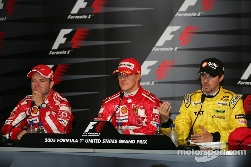 Conferencia de prensa: ganador de la carrera Michael Schumacher y Rubens Barrichello Tiago Monteiro