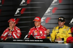 Press conference: race winner Michael Schumacher with Rubens Barrichello and Tiago Monteiro