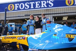 Fernando Alonso and Giancarlo Fisichella with Playstation girls Lucy Pinder and Michelle Marsh