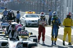 Jenson Button, Jarno Trulli and Fernando Alonso