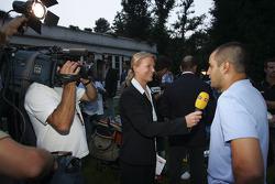 Juan Pablo Montoya gives a TV interview