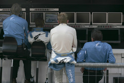 Giorgio Mondini and Olivier Pla watch the race from the pitwall