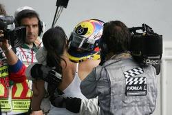 Race winner Juan Pablo Montoya celebrates with wife Connie