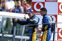 Fernando Alonso and Giancarlo Fisichella celebrate