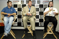 Press conference for 'A Week in the Life of NASCAR': Scott Riggs, Scott Rowan of Triumph books and Mark Dyer, VP of licensing for NASCAR
