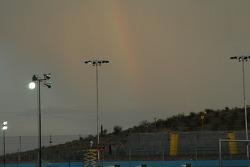 Rainbow over track