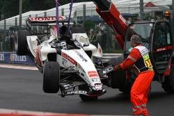The wrecked car of Takuma Sato
