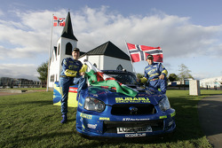 Petter Solberg and Phil Mills outside the Cardiff's Norwegian church