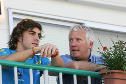 Fernando Alonso and FIA safety delegate Charlie Whiting