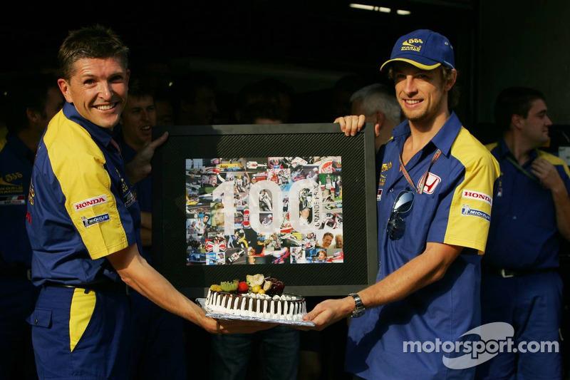 Jenson Button celebrates his 100th Grand Prix