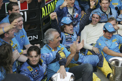 Giancarlo Fisichella, Flavio Briatore and Fernando Alonso celebrate world championship