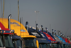 Team haulers in the late afternoon light
