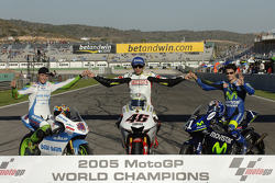 The traditional Word champions shoot: 2005 MotoGP World champion Valentino Rossi, with 125cc champio