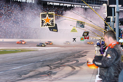 The left over smoke from Biffle's spin