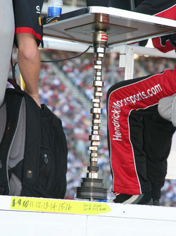 A crank shaft serves as a table leg for Hendrick Motorsports