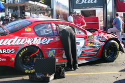 Car of Dale Earnhardt Jr. in garage area