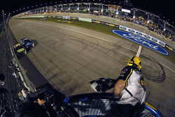 Greg Biffle takes the checkered flag inches ahead of Mark Martin