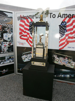 The 24 Hours of Le Mans 2005 winners trophy on display in the Champion Racing paddock area