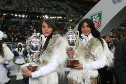 The Race of Champions girls present the Nations Cup trophies