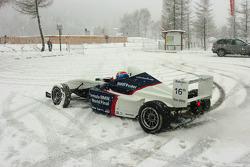 Mark Webber BMW WilliamsF1 Team driver 2005 drives a Formula BMW in the snow