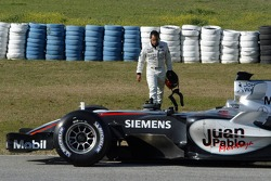 Juan Pablo Montoya stopped on the track
