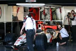 Christmas decoration in the Honda garage