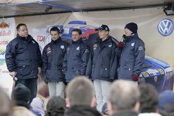 Volkswagen Motorsport departure in Wolfsburg: Bruno Saby, Michel Périn, Jutta Kleinschmidt and Fabri