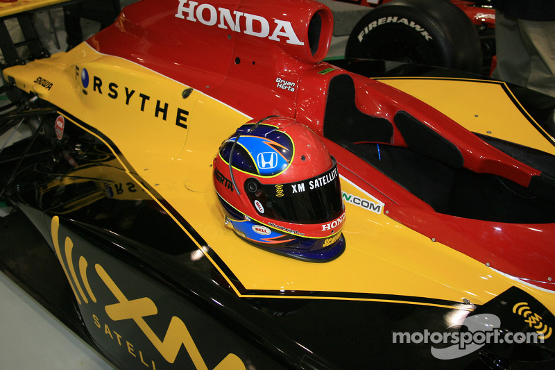 Bryan Herta's helmet on the No. 7 XM Satellite Radio Dallara Honda Firestone
