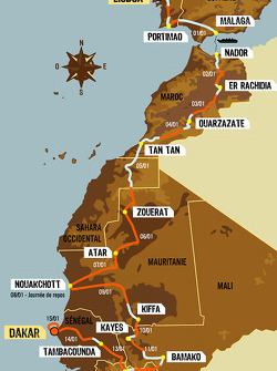 Overall map: 15 stages, from 2005-12-31 to 2006-01-15, Lisboa to Dakar