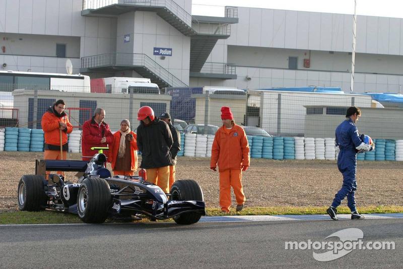 Mark Webber in the gravel