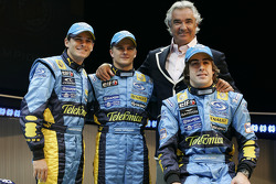 Giancarlo Fisichella, Heikki Kovalainen, Fernando Alonso and Flavio Briatore
