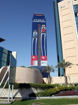 Bahrain GP advertising on a skyscraper