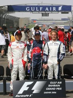 Séance photo: les débutants Yuji Ide, Scott Speed et Nico Rosberg