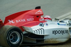 Team Indoesia driver Ananda Mikola spins