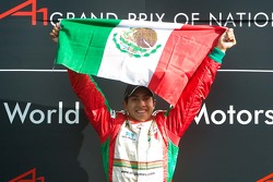 Race winner Salvador Duran of Team Mexico celebrates his win