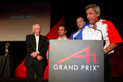 Nicolas Lapierre (FRA) A1 Team France, Alexandre Premat (FRA) A1 Team France and Jean-Paul Driot (FRA) A1 Team France Team Manager accept their award for winning the A1GP Championship which waas presented bt John Surtees (GBR) A1 Team Great Britain Chairm