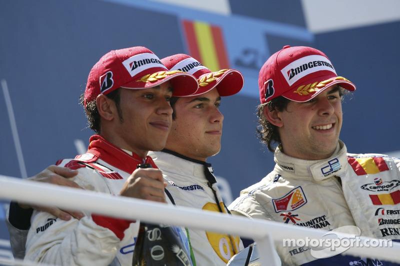 Lewis Hamilton, Nelsinho Piquet e Adrian Valles
