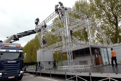 Setup of the Red Bull Energy Station and paddock area: Saturday