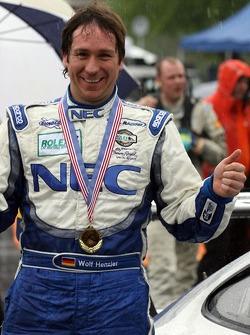 Race winner Wolf Henzler celebrates