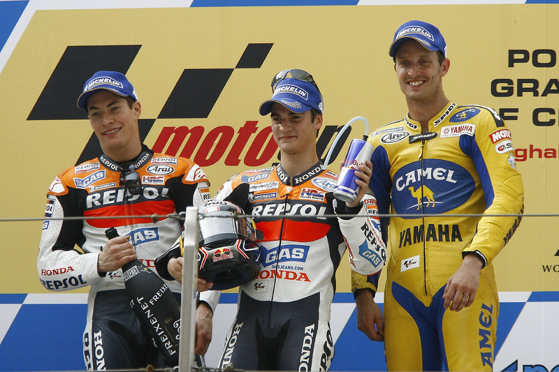 Podium: le vainqueur de la course Dani Pedrosa avec Nicky Hayden et Colin Edwards