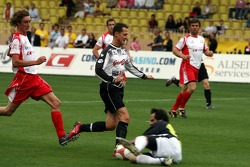 Charity football match: Michael Schumacher against goalkeeper Jean-Luc Ettori