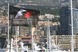 A Formula 1 flag flies in Monaco Harbour