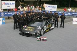 Marco Apicella, Koji Yamanishi, Yasutaka Hinoi, and Team Jloc Isao Noritake pose with the Jloc Isao Noritake Lamborghini Murcielago