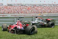 Wrecked cars of Scott Speed and Juan Pablo Montoya