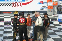 Benny Parsons congratulates Casey Mears father Roger Mears