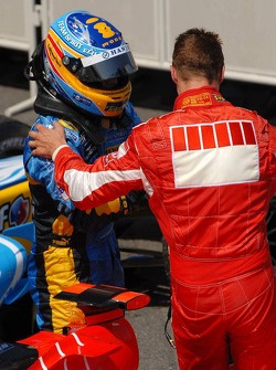 Fernando Alonso congratulates race winner Michael Schumacher